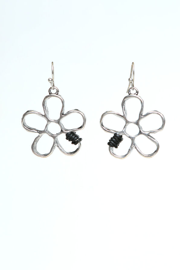 Flower Dangle Earrings, Silver, original image number 0