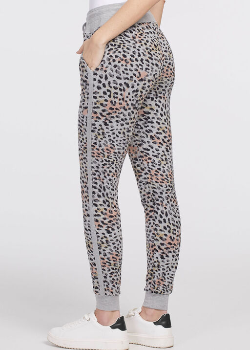 Leopard Ankle Chic Joggers, Grey, original