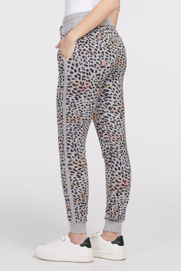 Leopard Ankle Chic Joggers, Grey, original image number 1