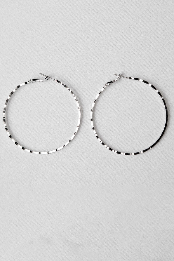 Notched Edge Hoops, Silver, original image number 0
