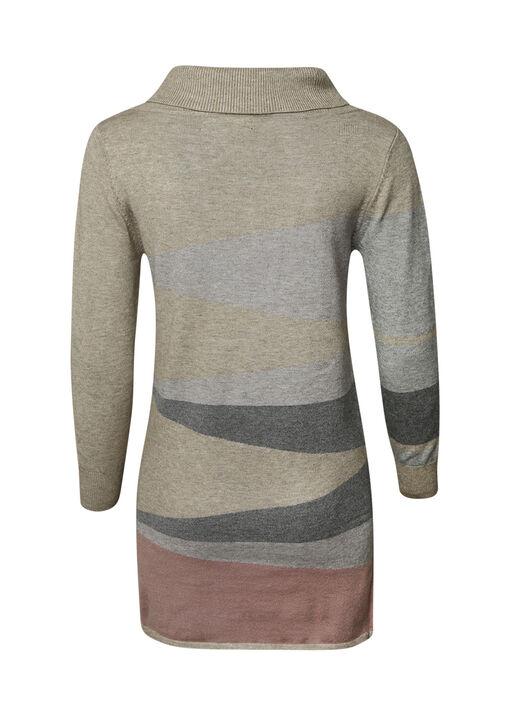 Diagonal Stripe Tunic with Turtle Neck, Pink, original