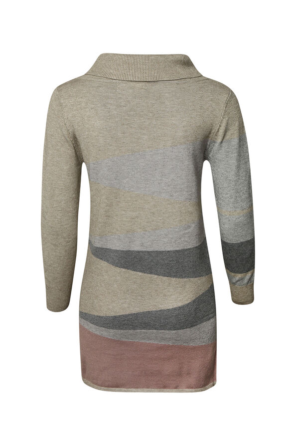 Diagonal Stripe Tunic with Turtle Neck, Pink, original image number 1