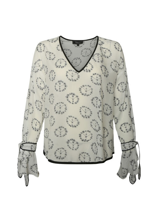 Peace and Floral Print Top with Bell Sleeves, White, original