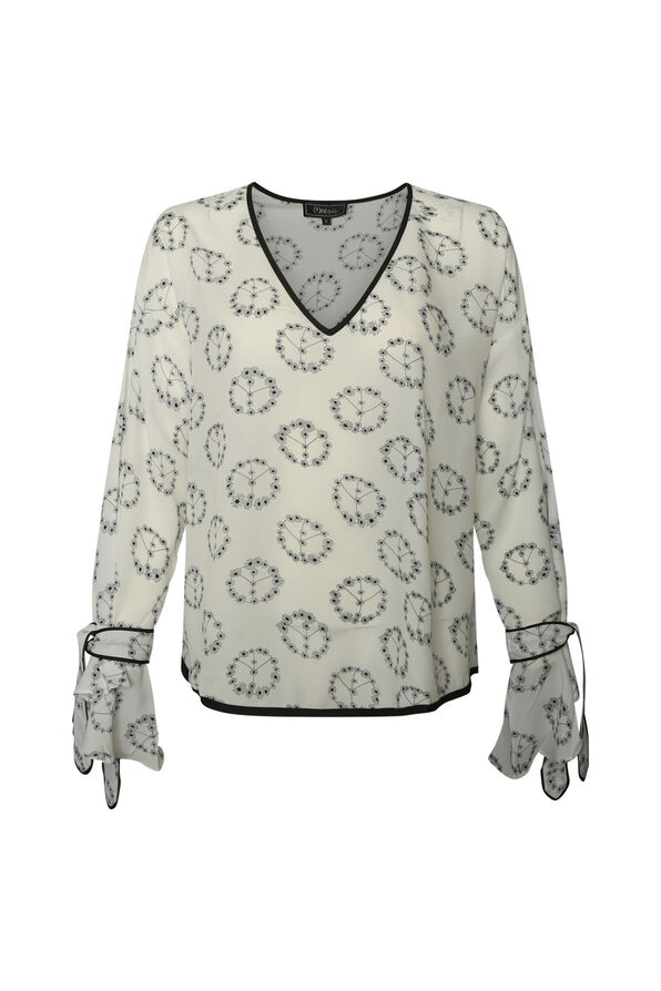 Peace and Floral Print Top with Bell Sleeves, White, original image number 0