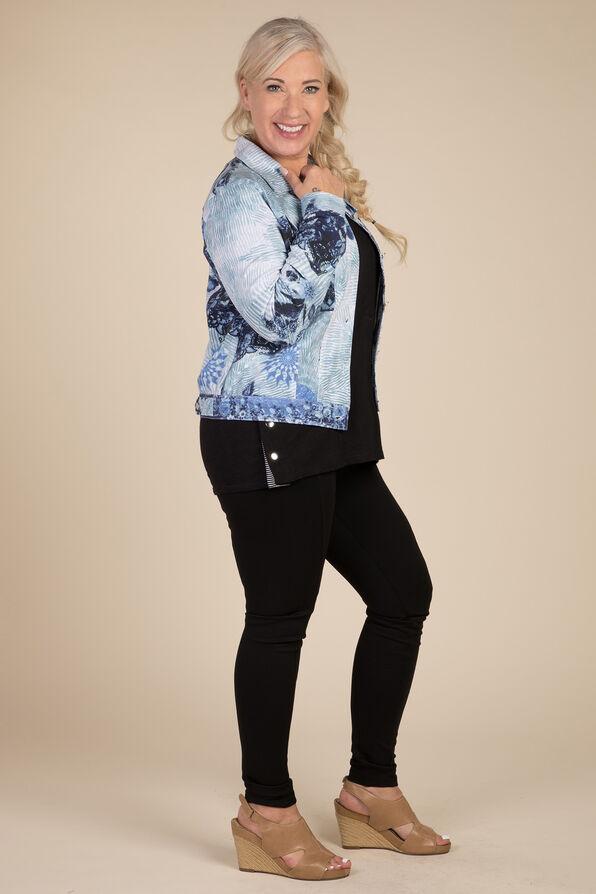 Selene Faux Denim Jacket, Blue, original image number 1