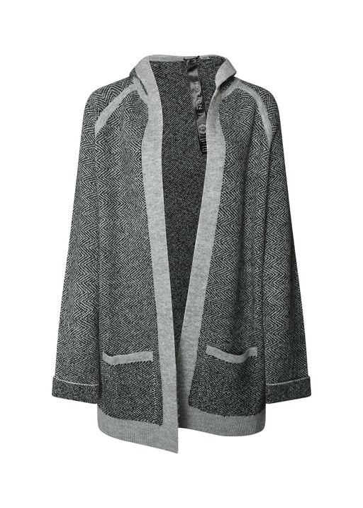 Herringbone patch pocket hooded Sweater Cardigan, Charcoal, original
