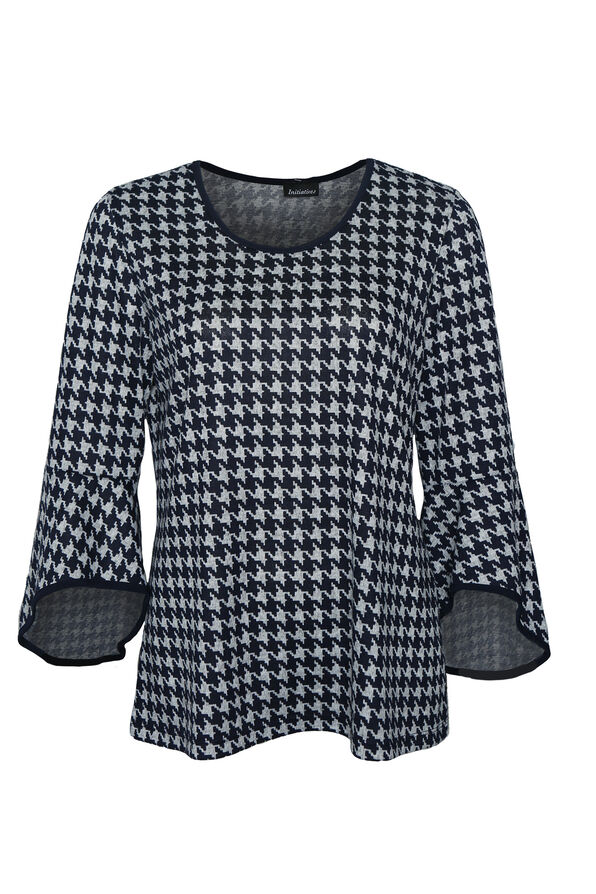 Houndstooth Top with Bell Sleeve, Navy, original image number 0