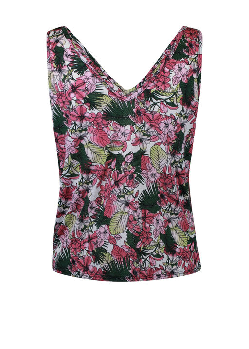 Tropical Print Tank Top with Front Knot, Multi, original