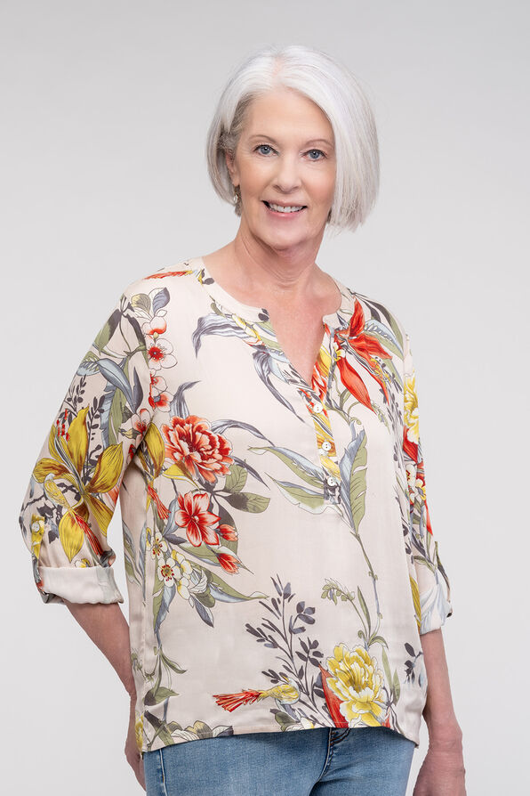 Floral with Bird Print Top with Roll Tab Sleeves , Multi, original image number 2