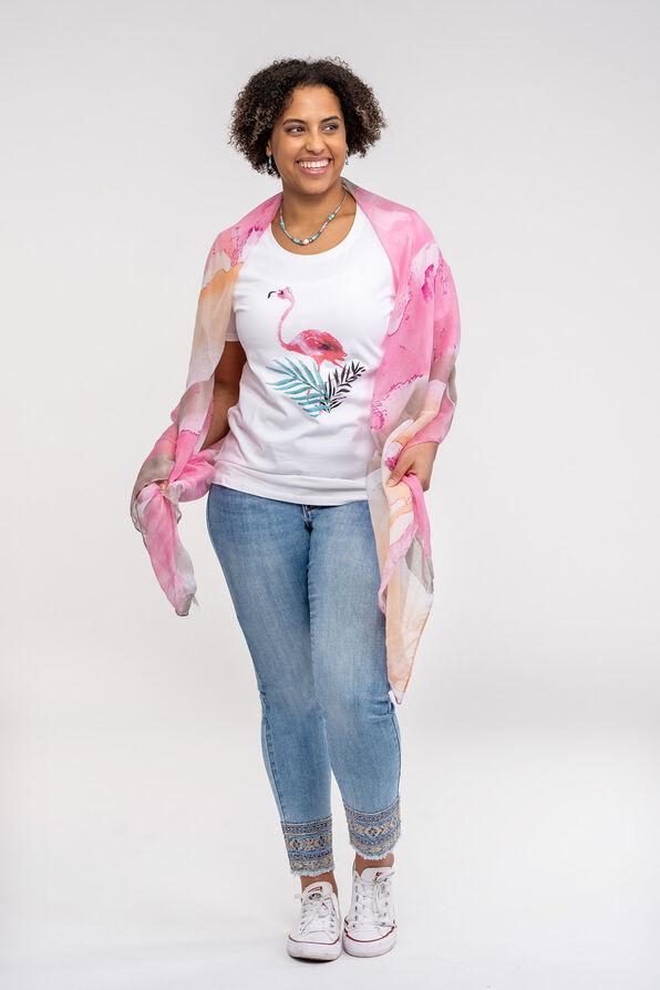 Flamingo Print T-Shirt, Pink, original image number 2