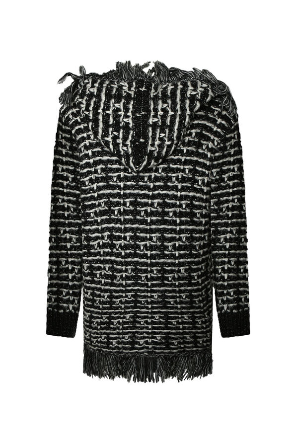 Tweed Like Cardigan with Fringe, Black, original image number 1