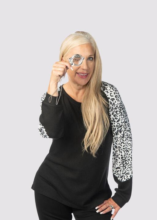 Leopard-Edged Sweater, Black, original