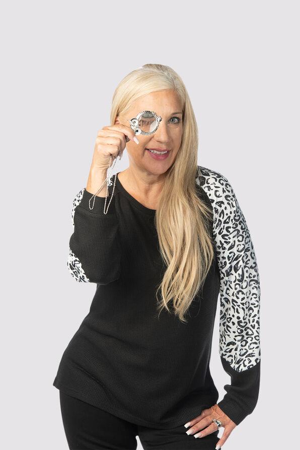Leopard-Edged Sweater, Black, original image number 0