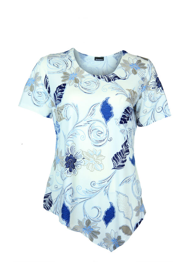 Asymmetrical Hem Top with Short Sleeves, Ivory, original image number 0