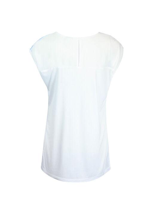 Chiffon Front Cap Sleeve Shirt, Turquoise, original