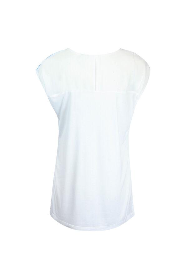 Chiffon Front Cap Sleeve Shirt, Turquoise, original image number 1