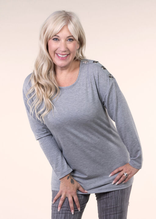 Top Knit with Grommet Detail, Grey, original