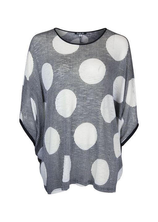 Polka Dot Dolman 3/4 Sleeve Top , Black, original