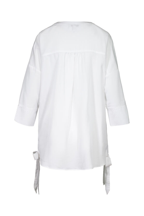 Button Front Blouse with Side Ties and 3/4 Sleeves, White, original image number 3