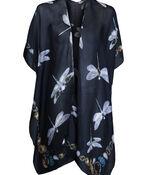 Dragonfly Print Kimono, Black, original image number 0