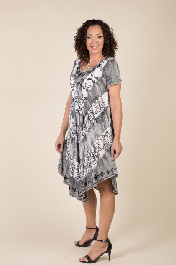 Short Sleeve Tie Dye Swing Dress, Grey, original image number 3