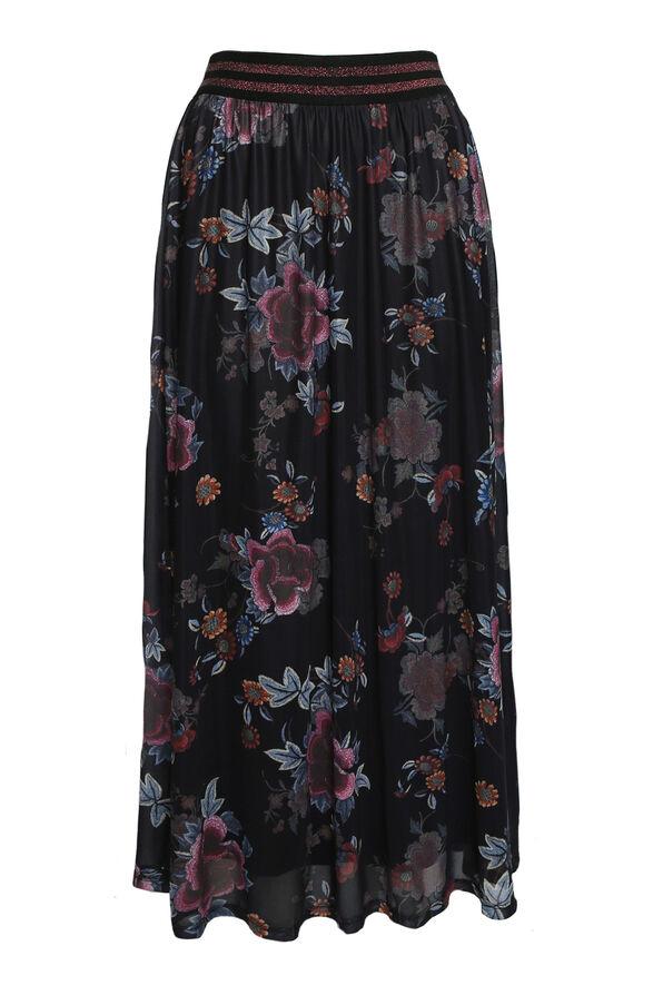Lennon Floral Maxi Skirt, Black, original image number 0