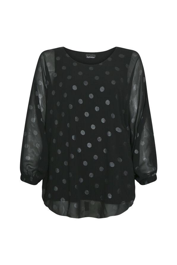 Poncho Polka Dot Blouse, Black, original image number 0