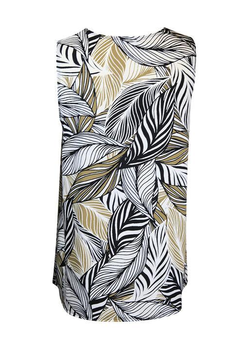 Leaf Print V-Neck Blouse w/ Pintuck, Beige, original
