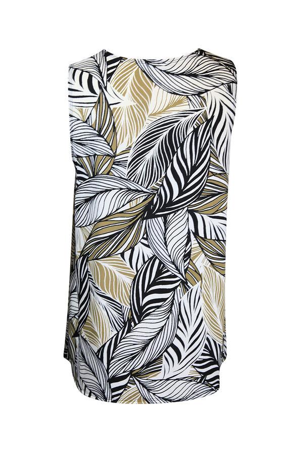 Leaf Print V-Neck Blouse w/ Pintuck, Beige, original image number 1