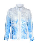 Ruched Front Windbreaker Jacket, Turquoise, original image number 0