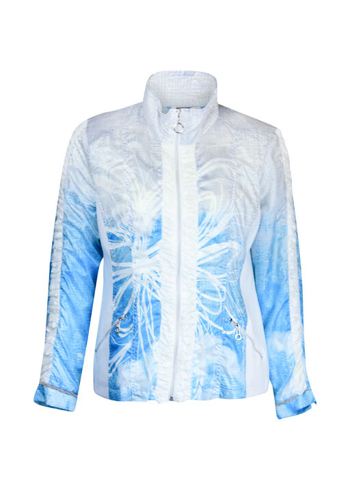 Ruched Front Windbreaker Jacket, Turquoise, original