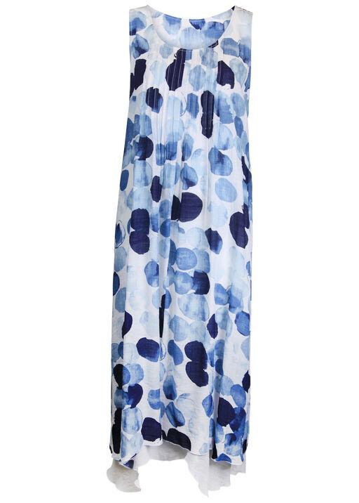 Sleeveless Layered Midi Dress with Pintuck, Blue, original