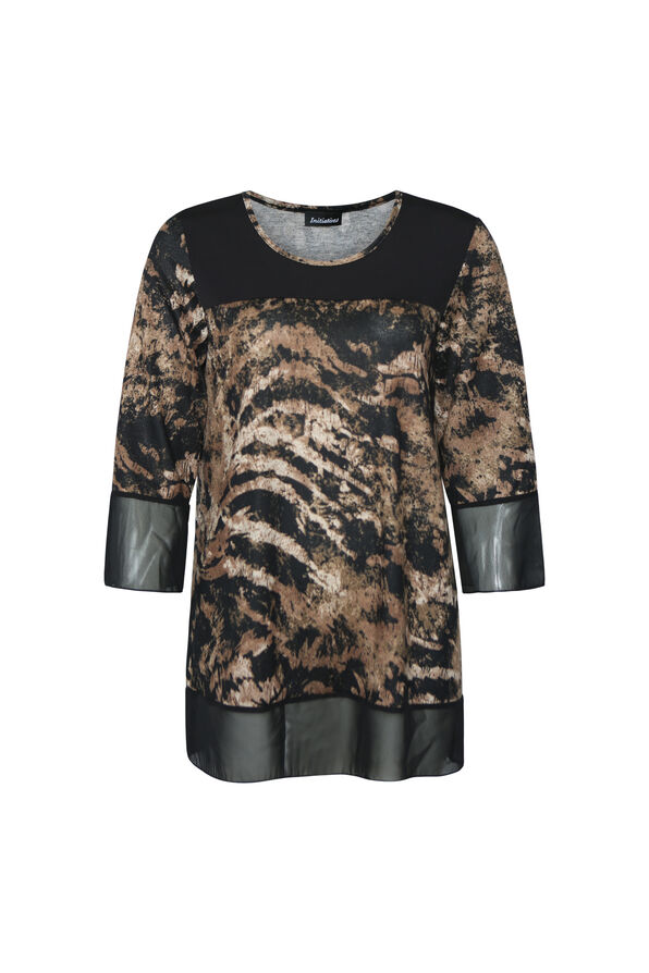 Animal Print with Chiffon Bell Sleeve, Black, original image number 0