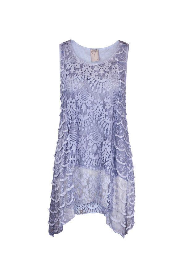 Sleeveless Lace Top with Sharkbite Hem, Denim, original image number 0