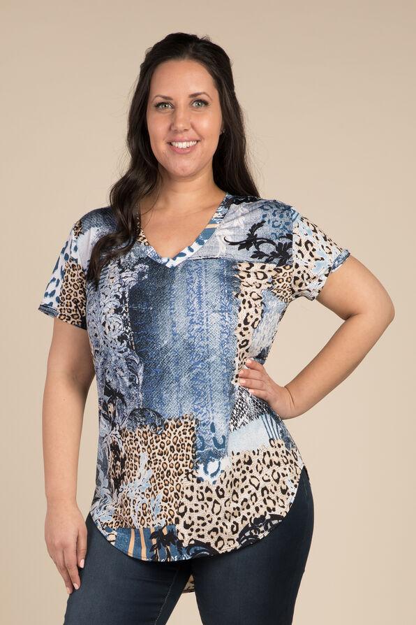 Denim Leopard Top, Indigo, original image number 0