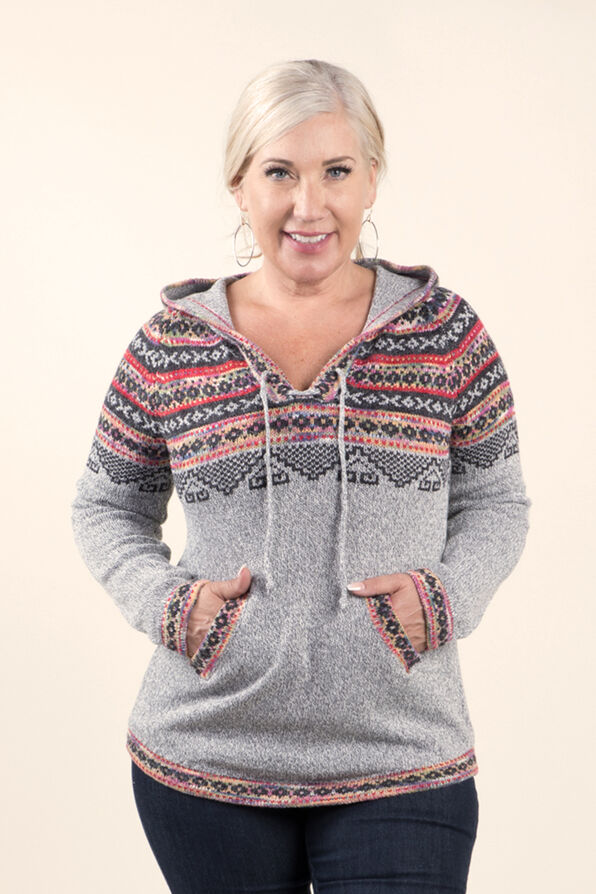 Fairisle Pullover Sweater with Hood, Grey, original image number 0