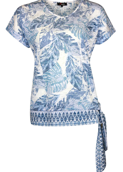 Tropical Print T-Shirt with Border Print and Side Tie, Blue, original