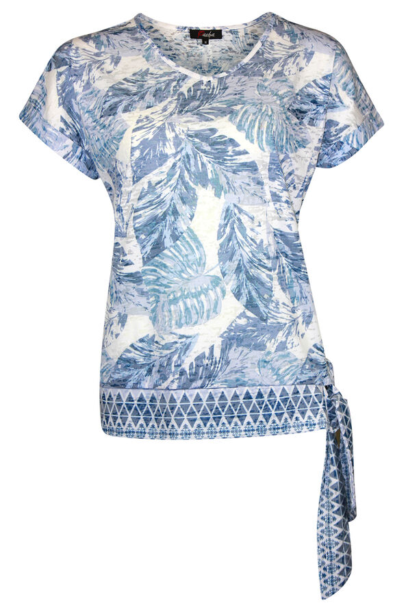 Tropical Print T-Shirt with Border Print and Side Tie, Blue, original image number 0