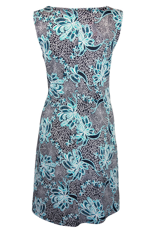 Sleeveless Shift Dress with 3 Ring Keyhole, Turquoise, original image number 1