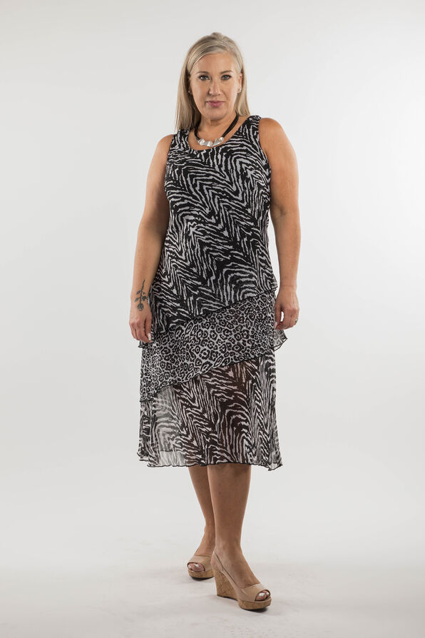 Zebra Print Dress, Black, original image number 0