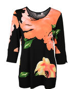 Floral Print 3/4 Sleeve with Banded Cuff and Hem, Black, original image number 0