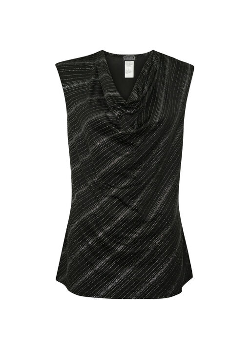 Sleeveless Glitter Top with Drape Neck, Black, original