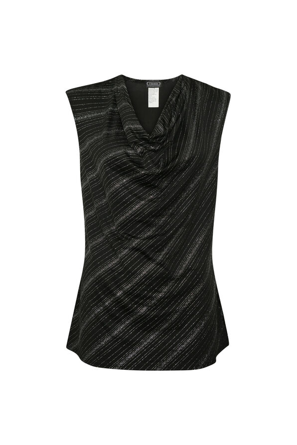 Sleeveless Glitter Top with Drape Neck, Black, original image number 0