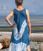 Sleeveless Embroidered Neckline Tie Dye Dress, Denim, original image number 1