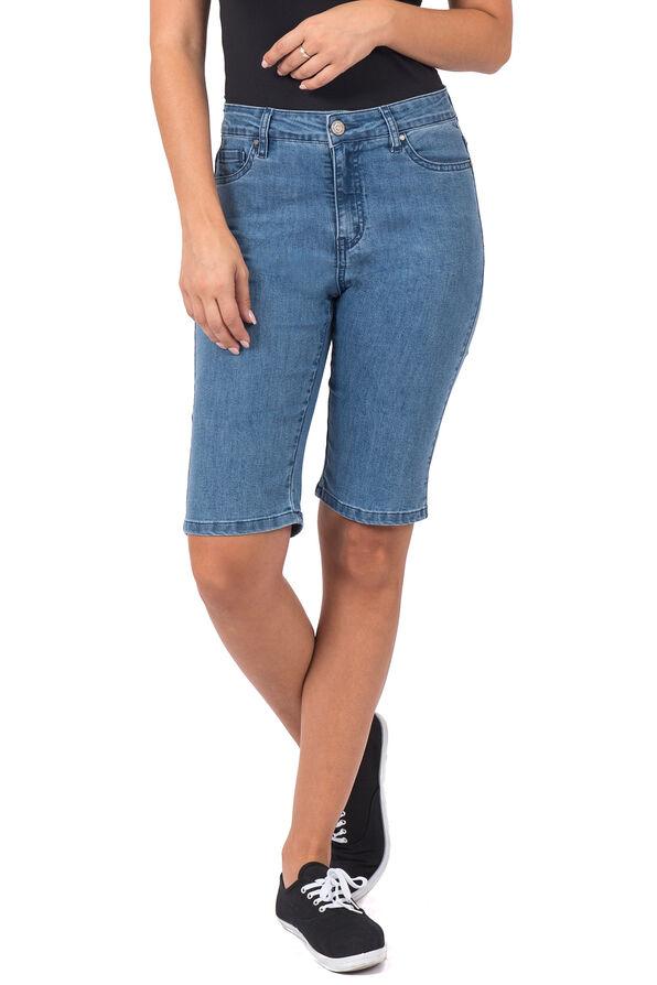 Embroidered Pocket Denim Shorts, Denim, original image number 0