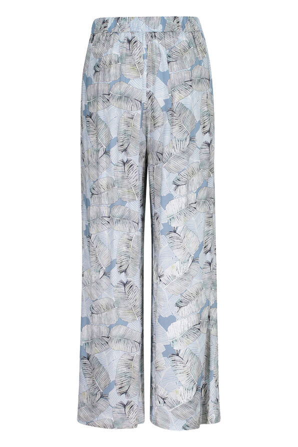 Tribal Laced Front Leaf Print Crop Palazzo Pant, Blue, original image number 2