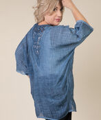 Lace Back Kimono, Denim, original image number 1