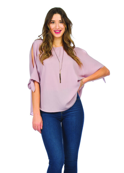 Short Sleeve Cold Shoulder Blouse with Ties, Pink, original
