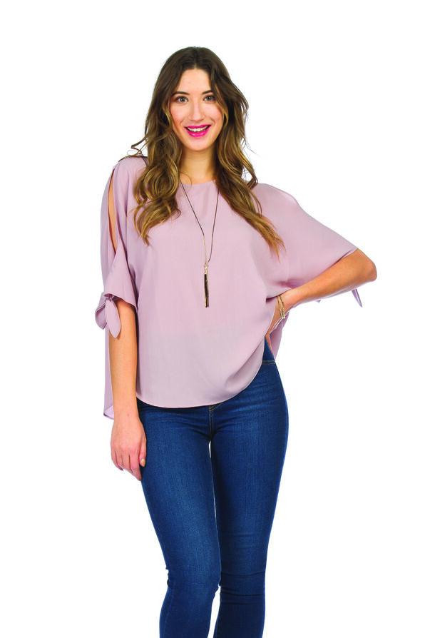 Short Sleeve Cold Shoulder Blouse with Ties, Pink, original image number 0