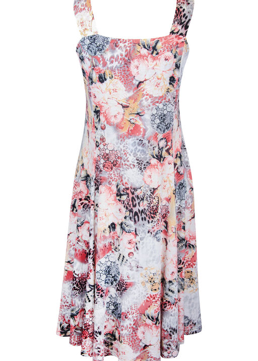 Floral Animal Print Fit and Flare Midi Dress, Pink, original
